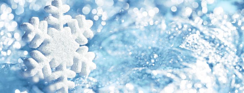 Snowflake Blue Ice, Snow Flake Decoration, Winter Lights Background