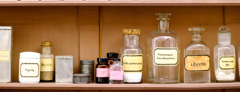 beautiful antique pharmacy - old cupboard